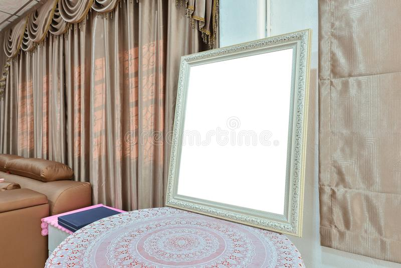 White blank picture frame in bedroom, mock up design royalty free stock image
