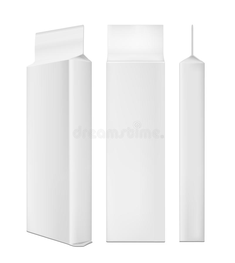 White blank plastic or paper washing powder packaging. Sachet for bread, coffee, sweets, cookies and gift royalty free illustration