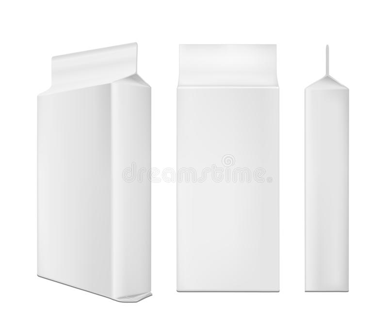 White blank plastic or paper washing powder packaging. Sachet for bread, coffee, sweets, cookies and gift vector illustration