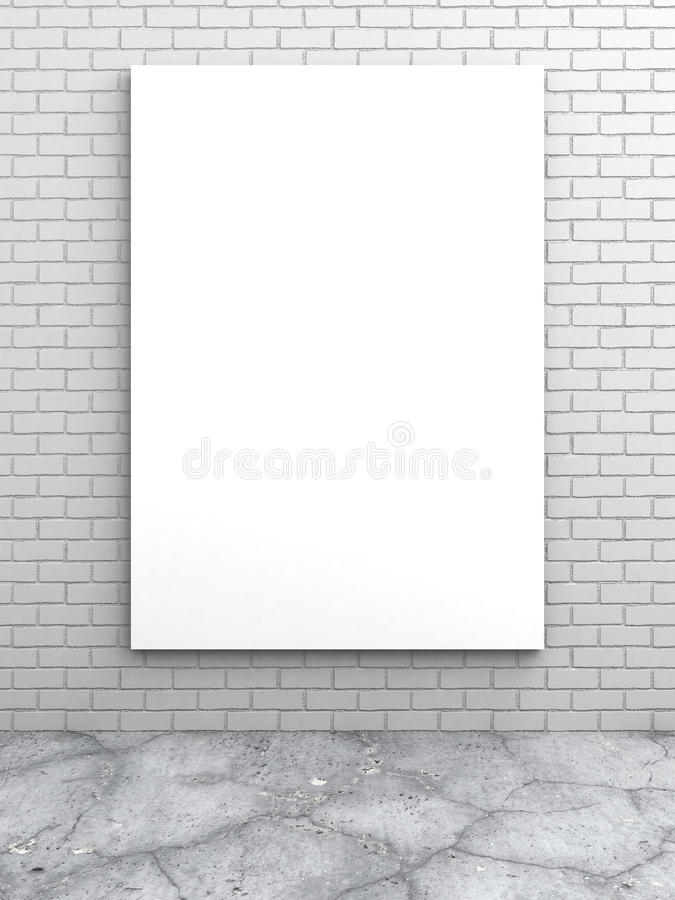 White blank poster on brick wall. 3d render illustration royalty free stock image