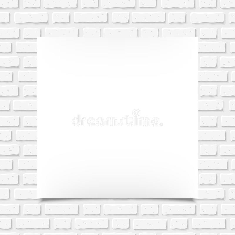 White blank poster on a brick wall. Vector illustration. Vector white blank poster on a white brick wall stock illustration