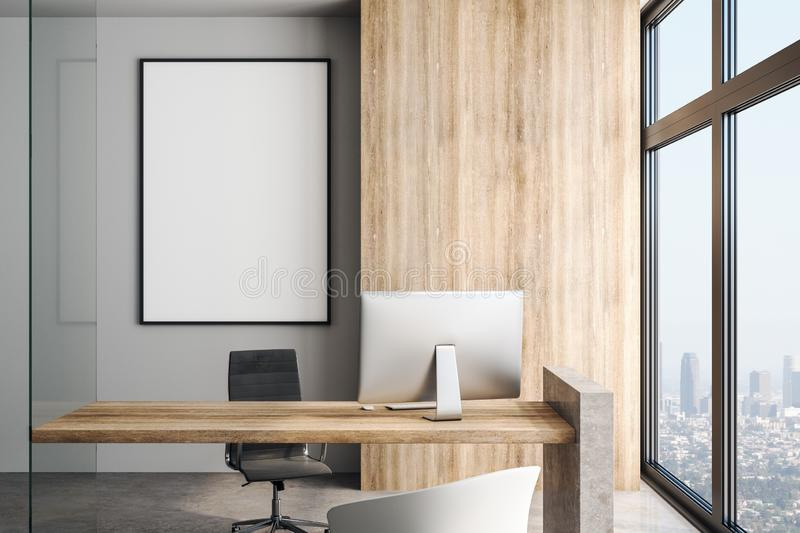 White blank poster on concrete wall in modern office in skyscraper. Blank white poster on the wall in modern office in skyscraper with big window, concrete floor vector illustration