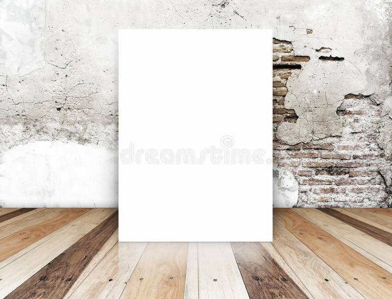 White Blank Poster in crack brick wall and tropical wooden floor royalty free stock photos