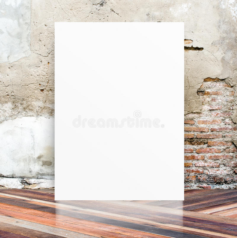 White Blank Poster in crack cement wall and diagonal wooden floor room,Template Mock up for your content,Business presentation stock images