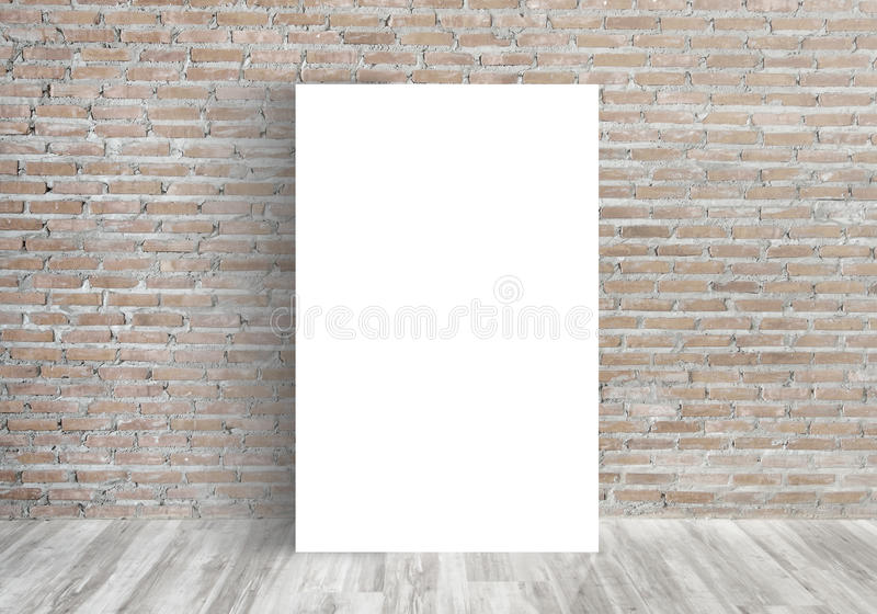 White Blank Poster in old brick wall stock photography