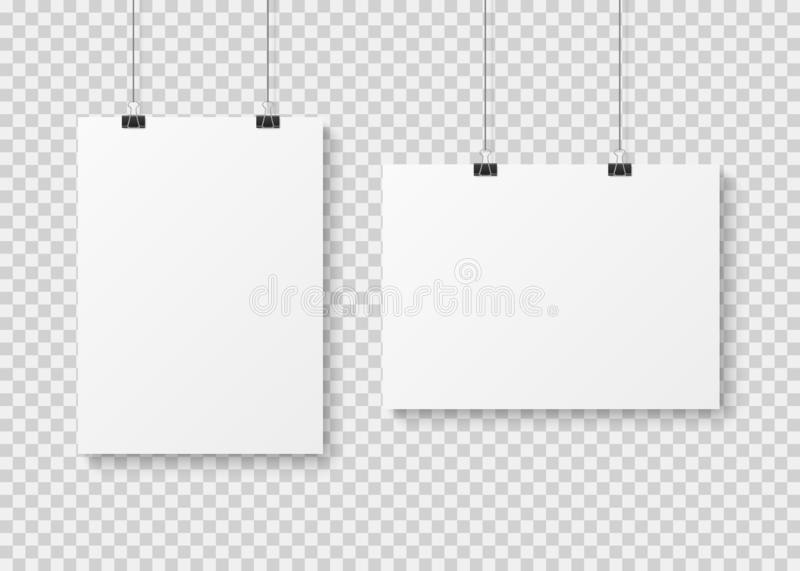 White blank poster template. Presentation wall paper posters, photo canvas clean advertising hanging banner mockup. White blank poster template. Presentation royalty free illustration
