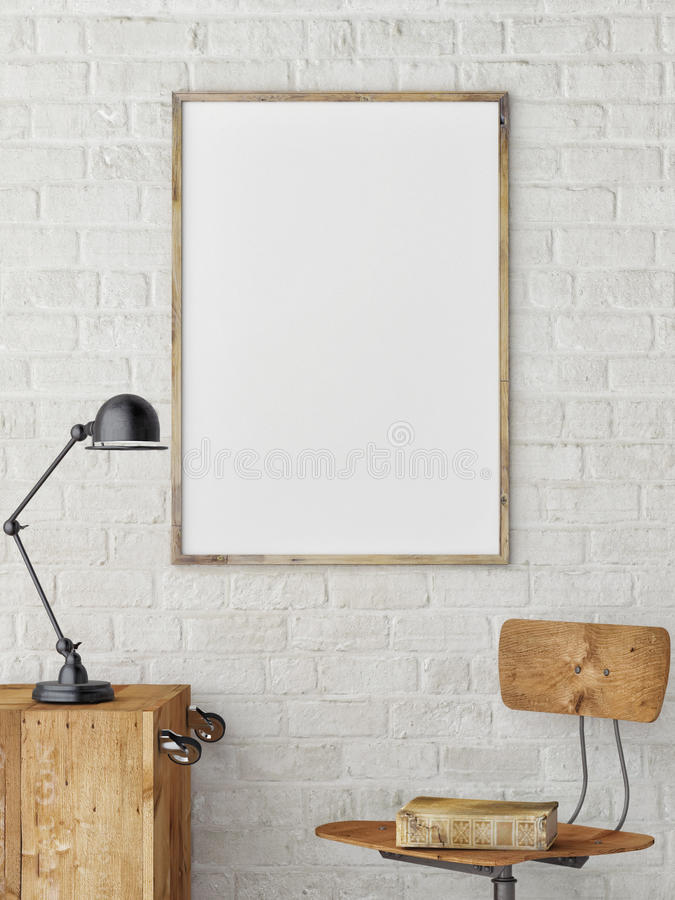 White Blank Poster in white brick wall ,Template Mock up for your content, royalty free illustration