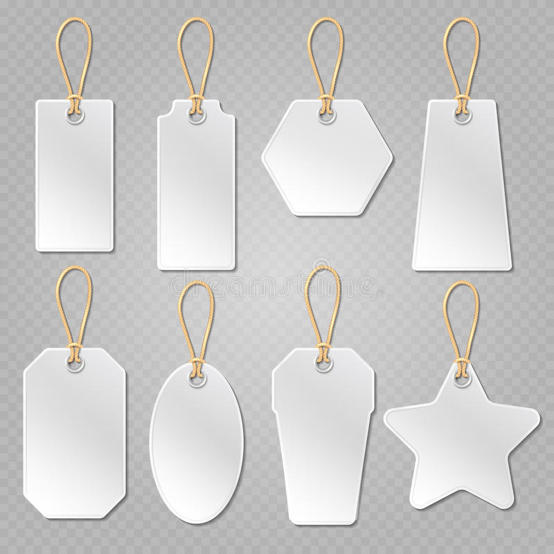 White blank price tags, labels vector template stock illustration