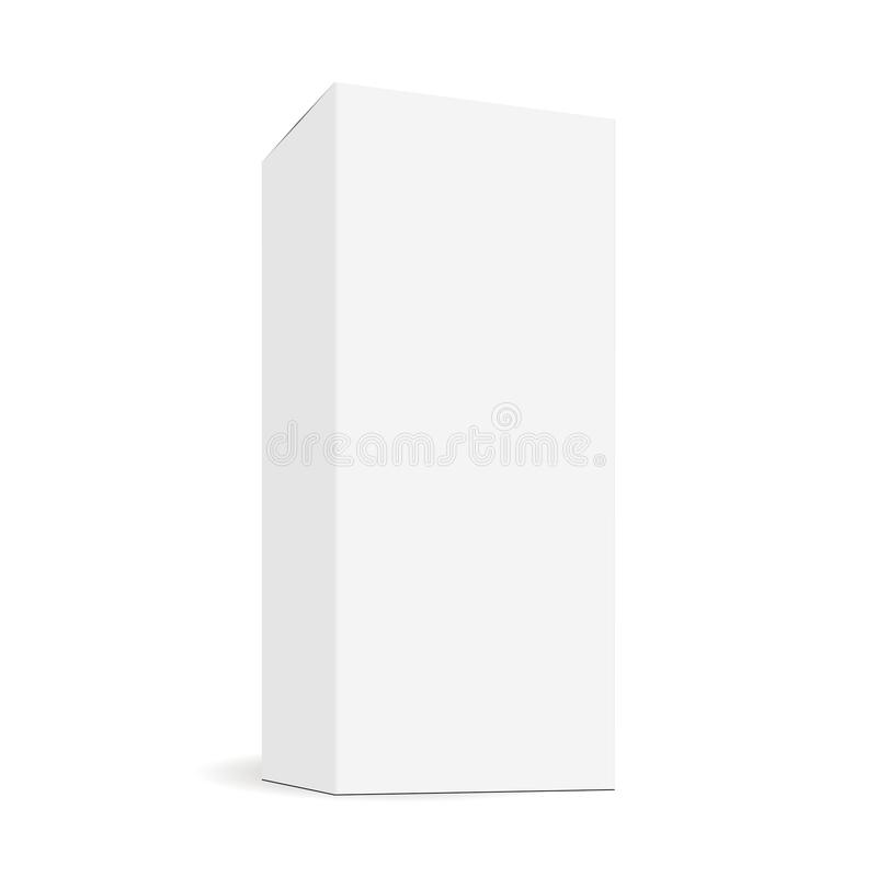 White blank rectangular tall box mock up with side perspective view. Sample for healthcare or cosmetic packaging design. Vector illustration stock illustration