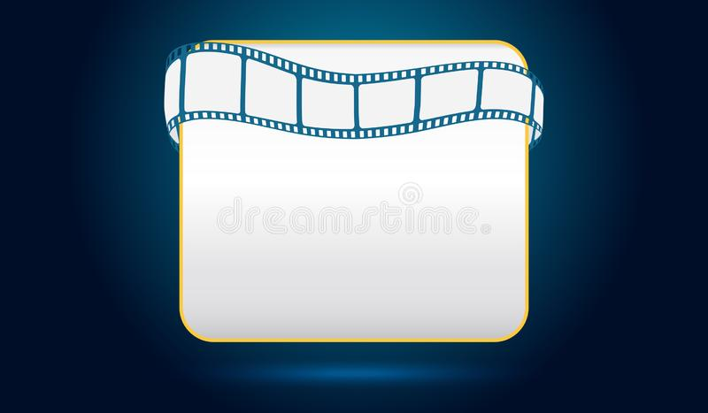 White blank screen with film strip frame isolated on blue background. Design template cinema with space for your text. Vector stock illustration