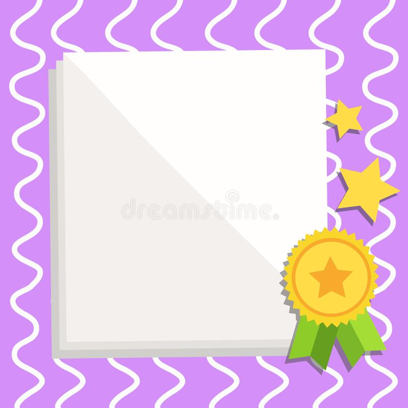 White Blank Sheets of Parchment Paper Stationery with Ribbon Seal Stamp Label Attached at the Bottom and Stars. Creative. White Blank Sheet of Parchment Paper stock illustration