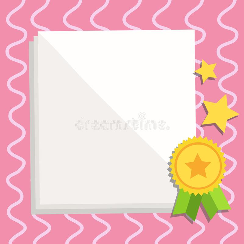 White Blank Sheets of Parchment Paper Stationery with Ribbon Seal Stamp Label Attached at the Bottom and Stars. Creative. White Blank Sheet of Parchment Paper royalty free illustration