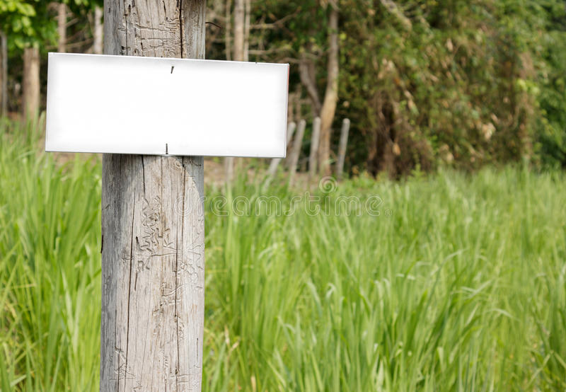 White blank signboard in the meadow. stock photos