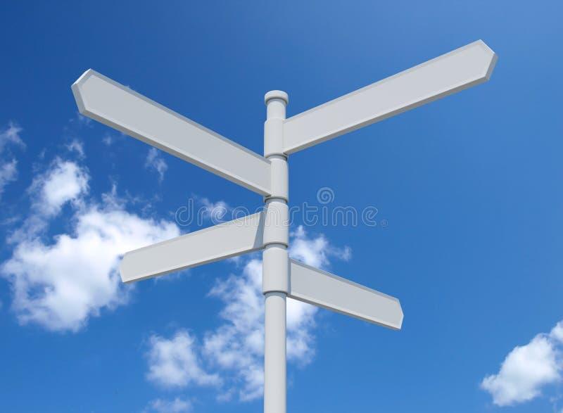 White blank signpost isolated on blue sky. 3d illustration vector illustration