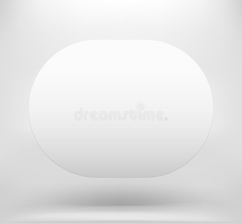 White blank space with shadow. Empty white isolated frame on the air royalty free illustration