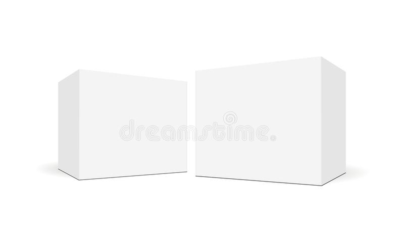 White blank square boxes with side perspective view. Mockup for healthcare and pharmaceutical packaging design. Vector illustration stock illustration
