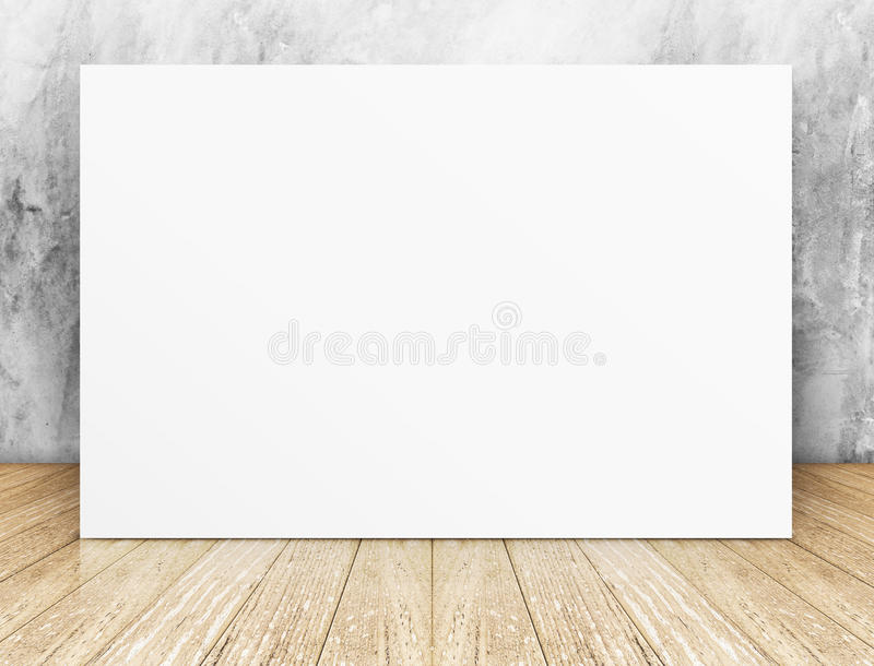 White Blank square Poster in concrete wall and wooden floor room royalty free stock photo