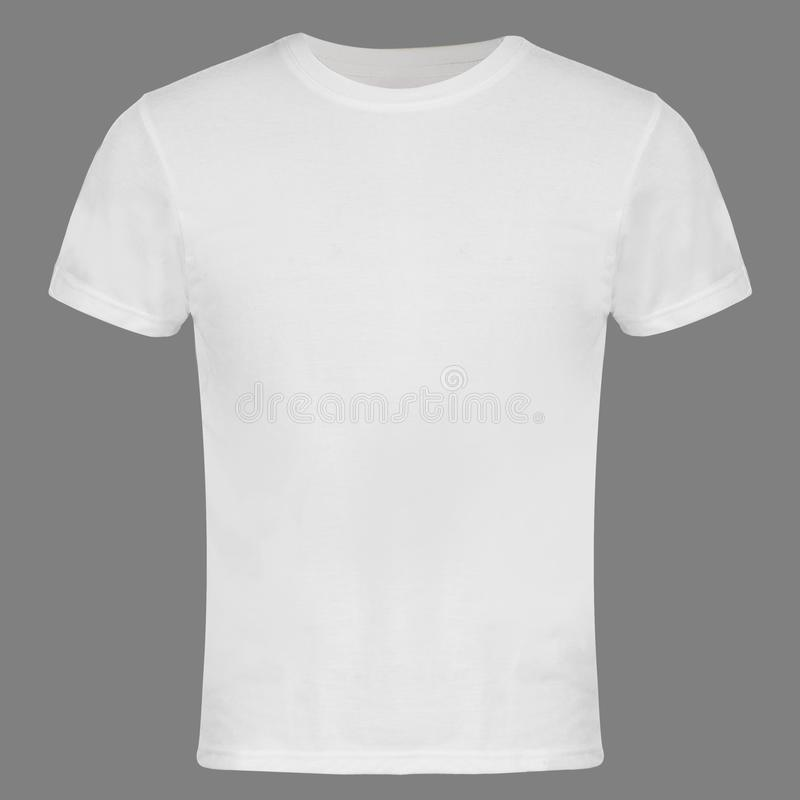 White Blank T-shirt Fron tIsolated. White Blank T-shirt Front Isolated on Gray Color Background stock photography