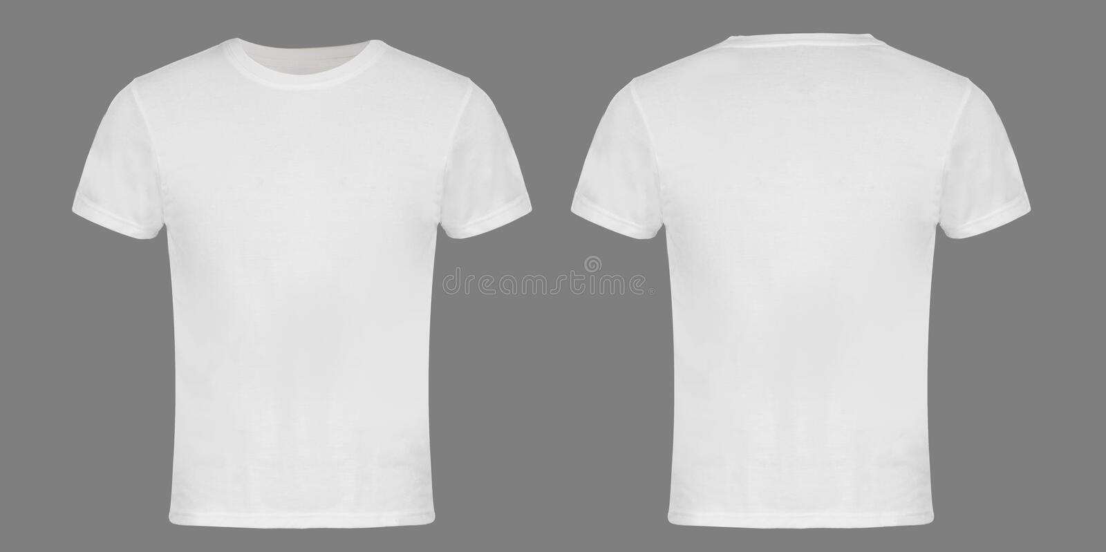 White Blank T-shirt Front and Back stock image