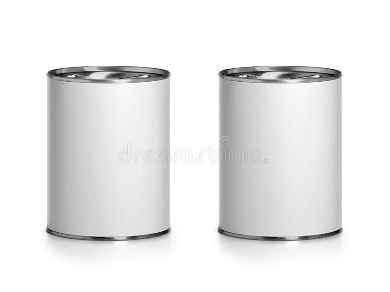 White Blank Tincan Metal Tin Can, Canned Food. Ready For Your Design stock photo
