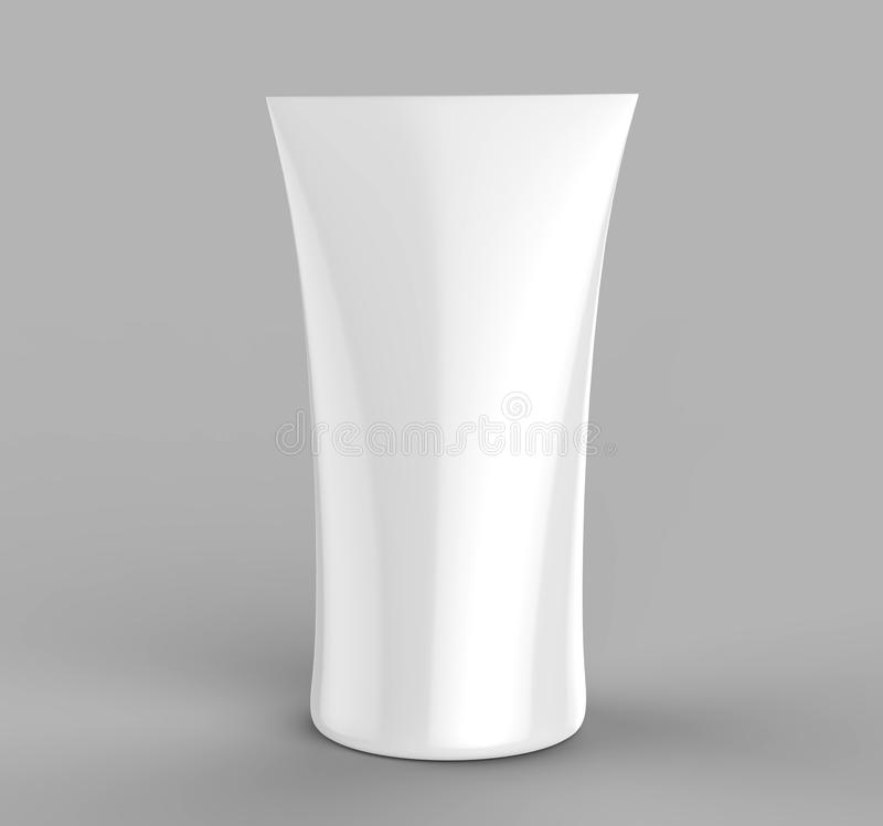 White blank trade show Double sided printed curved top tension fabric totem banner stands. 3d render illustration. White blank trade show Double sided printed vector illustration