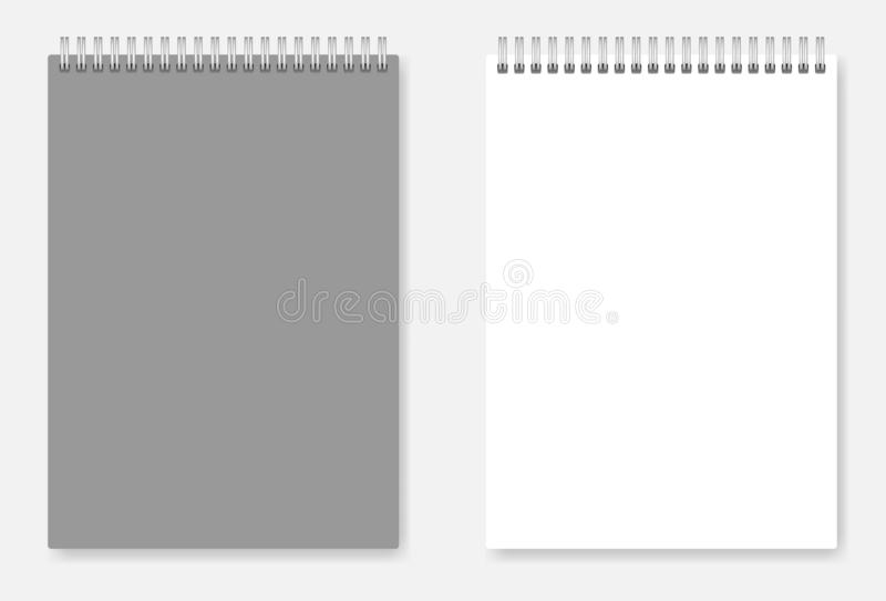 White blank A6 wire spiral clear notebook template - page and co royalty free illustration