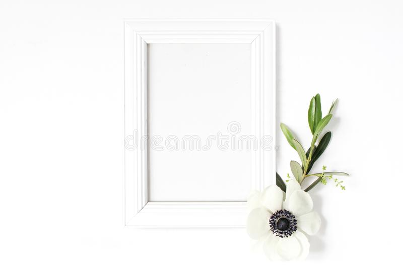 White blank wooden picture frame mockup with green olive branch and anemone flower lying on the white table. Poster. Product design, styled stock feminine royalty free stock images