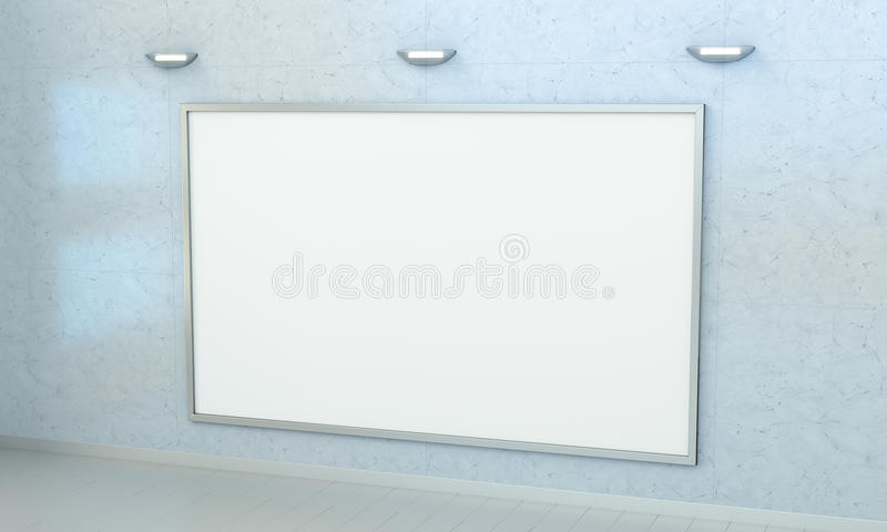 White blanks canvas on a wall 3D rendering royalty free illustration