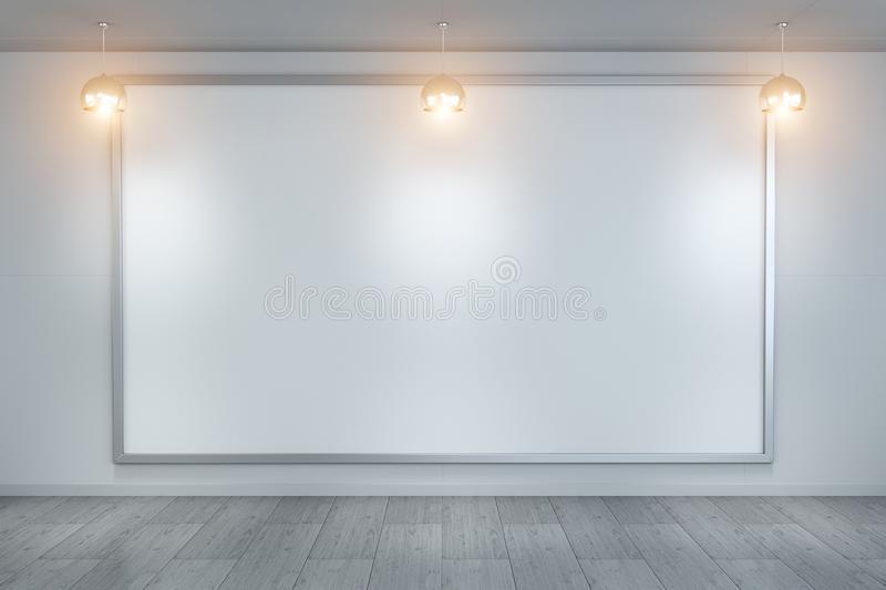 White blanks canvas on a wall 3D rendering vector illustration
