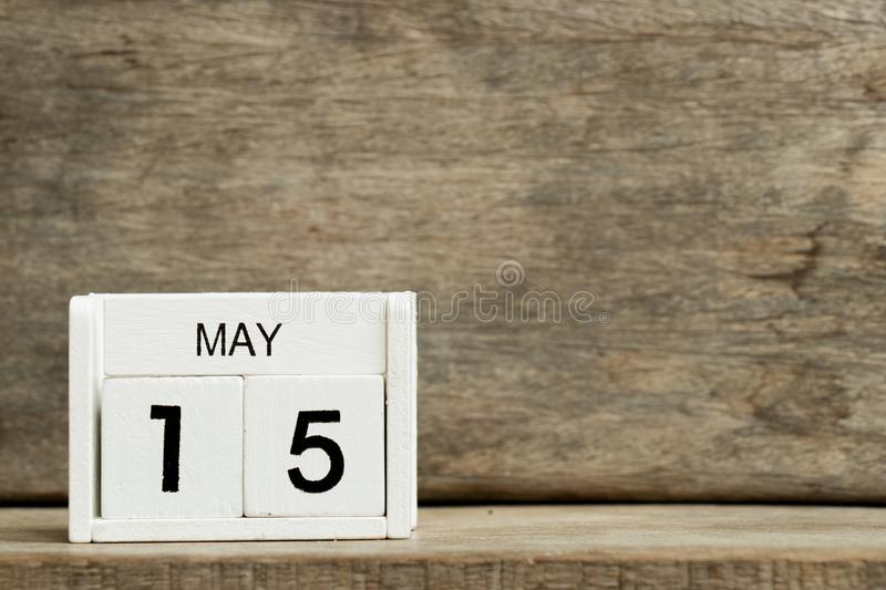 White block calendar present date 15 and month May on wood background. Reminder, element, design, business, day, agenda, appointment, event, year, schedule stock photos