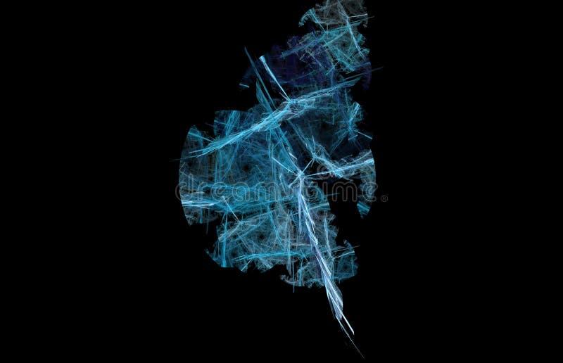 White blue abstract fractal on black background. Fantasy fractal texture. Digital art. 3D rendering. Computer generated image vector illustration