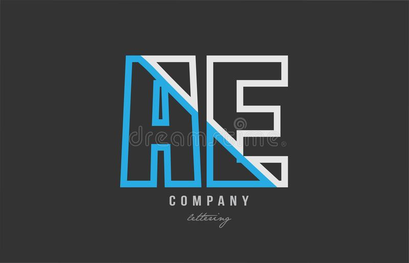White blue alphabet letter ae a e logo icon design. White blue alphabet letter ae a e logo combination design on black background suitable for a company or vector illustration