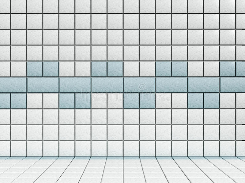 White and blue bathroom tiles.  royalty free illustration