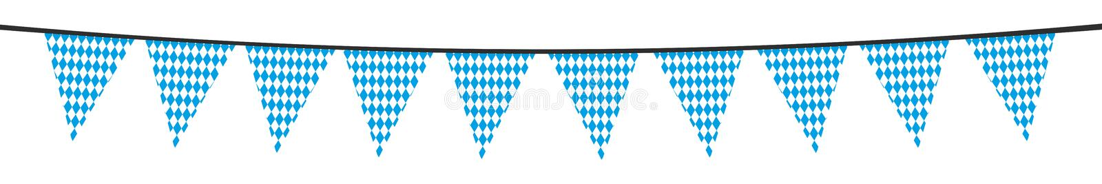 White blue bavarian party pennant. Isolated royalty free illustration