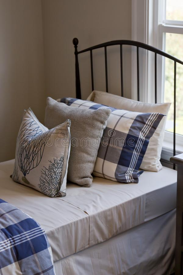 White & Blue Bedding Linens royalty free stock image