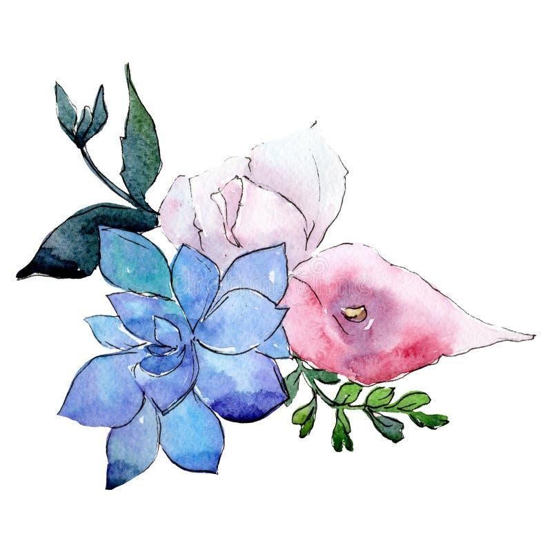 White blue botanical flower. Isolated bouquet illustration element. Green leaf. Watercolor background set. White blue botanical flower. Isolated bouquet royalty free illustration