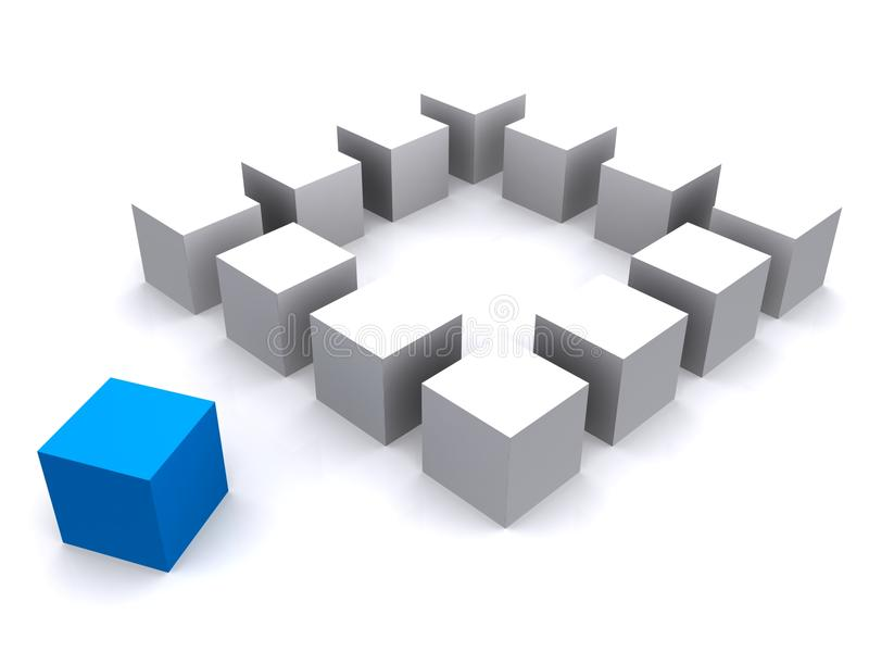 White and blue boxes royalty free illustration