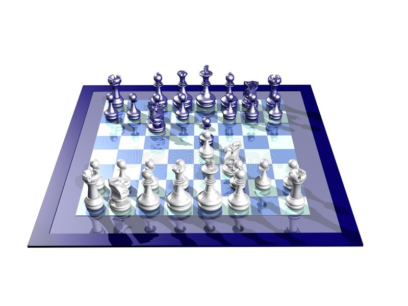 Download WHITE AND BLUE CHESSBOARD stock illustration. Image of piece - 7337127