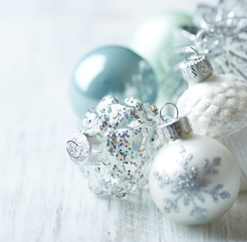 White and blue Christmas balls. Close up stock photo