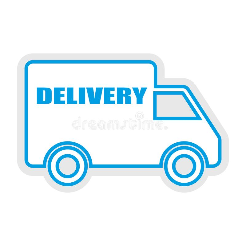 White and blue color Delivery service car icon. Delivery sign vector eps10 royalty free illustration