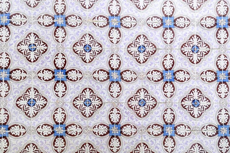 Glazed Tiles, Hand Made Azulejos, White, Blue, Dark Red, Textures stock photo