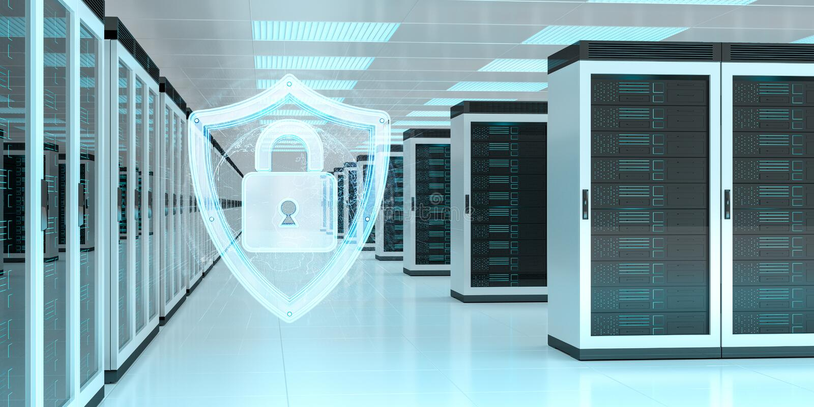 Firewall activated on server room data center 3D rendering. White and blue firewall activated on server room data center 3D rendering vector illustration