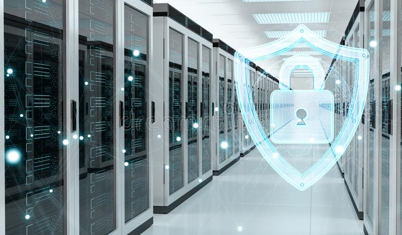 Firewall activated on server room data center 3D rendering. White and blue firewall activated on server room data center 3D rendering stock illustration
