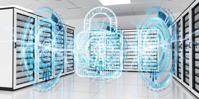 Firewall activated on server room data center 3D rendering. White and blue firewall activated on server room data center 3D rendering royalty free illustration