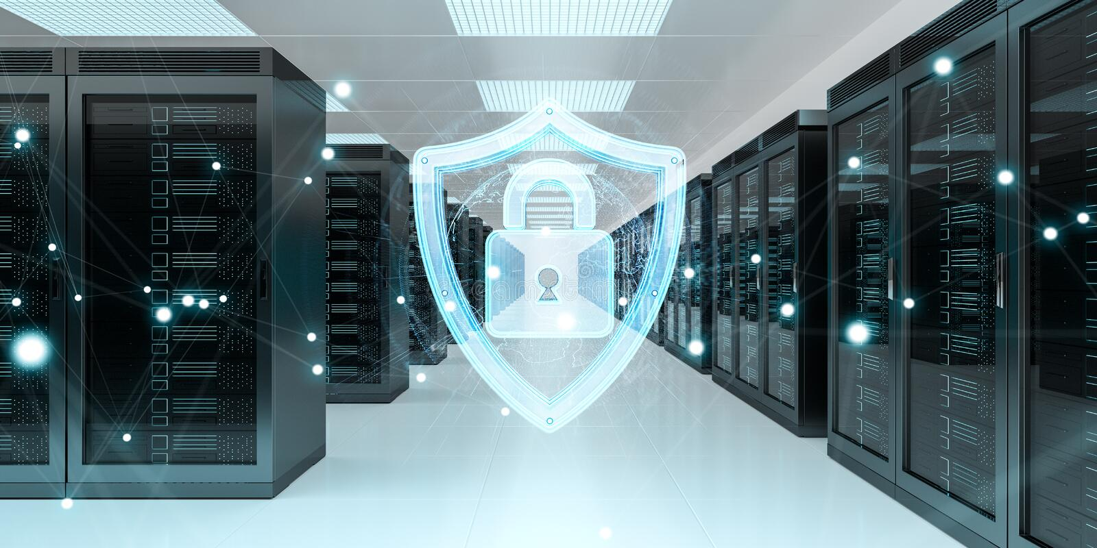 Firewall activated on server room data center 3D rendering vector illustration
