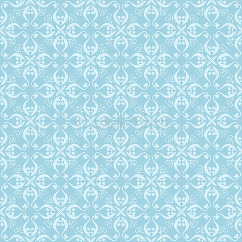 White and blue floral ornament. Seamless pattern stock illustration