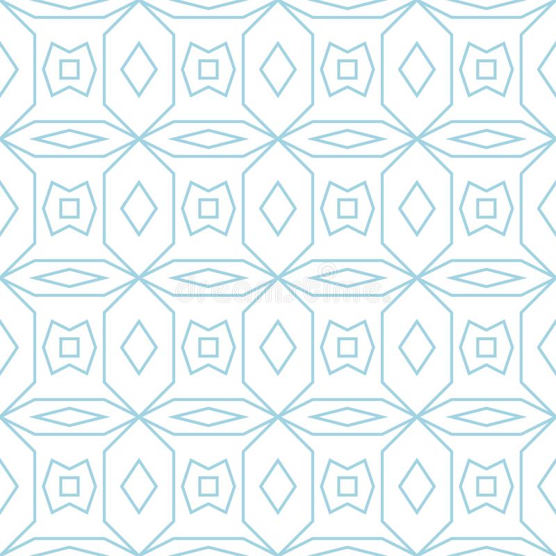 White and blue geometric ornament. Seamless pattern vector illustration