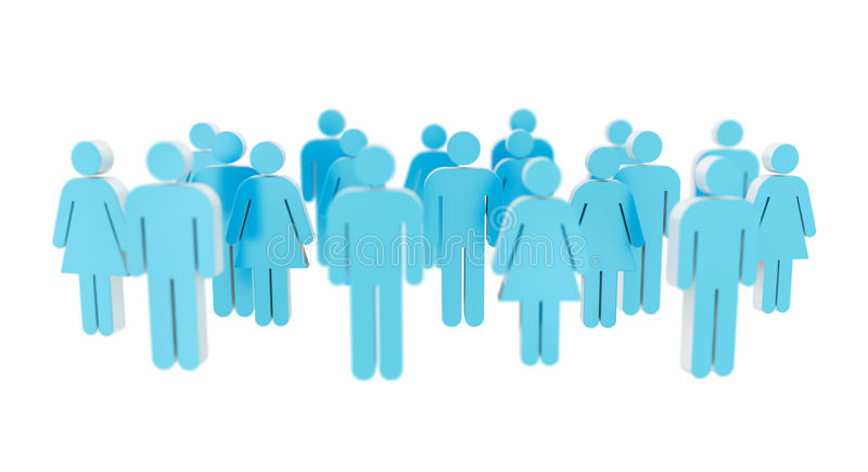 White and blue group of people icon 3D rendering royalty free illustration