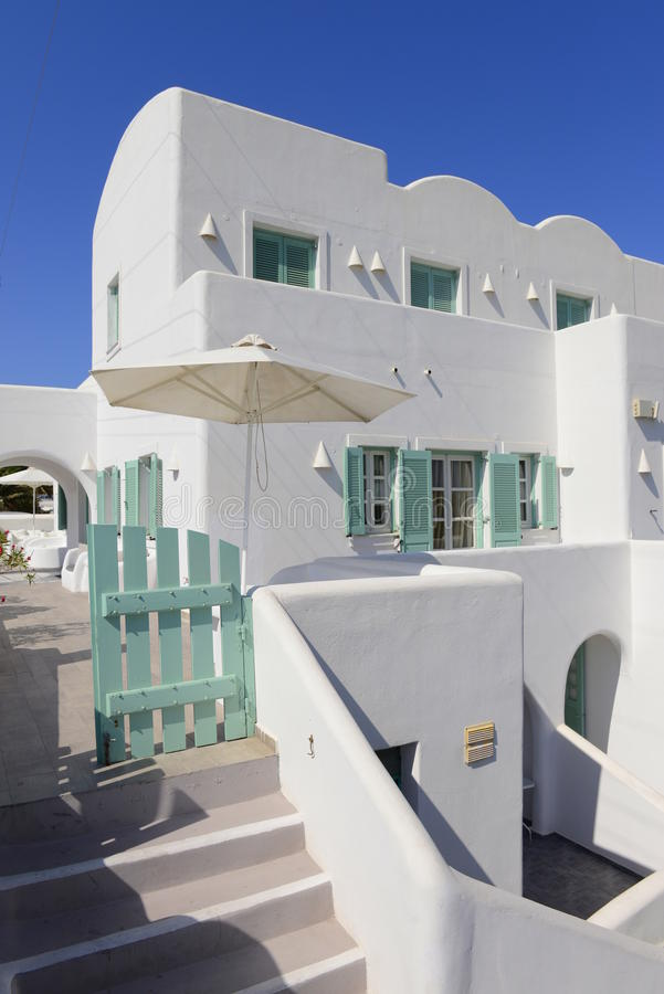 White And Blue House Details In Oia Village Stock Image