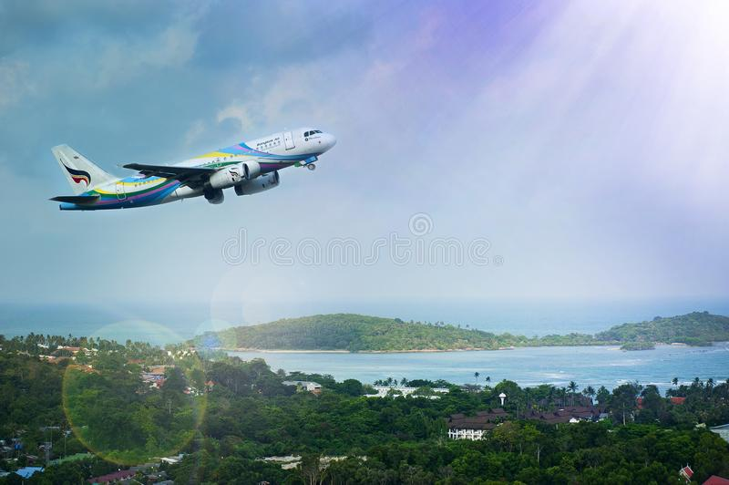 White and Blue Passenger Airplane Aerial Photography royalty free stock image